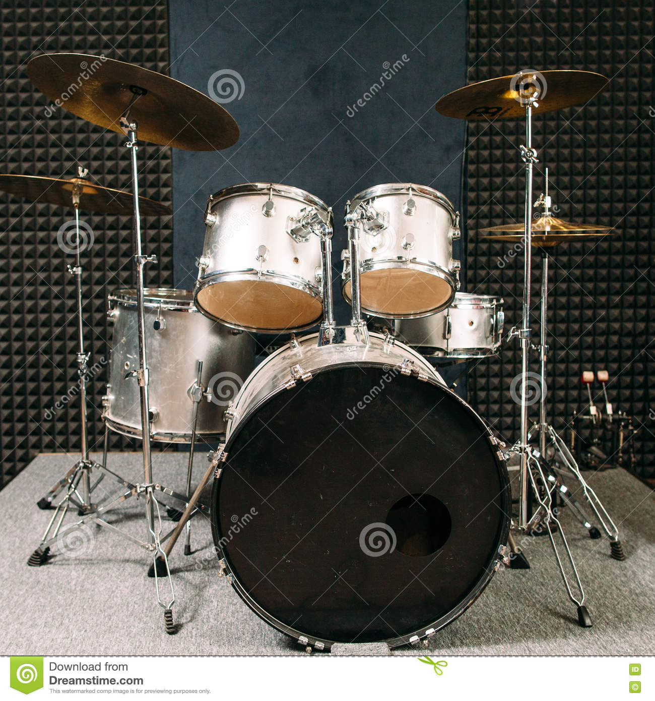 Drum Set On Stage Prepared For Playing Stock Image Image Of