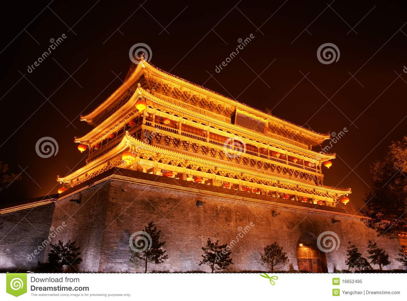 Drum tower in xi an of china