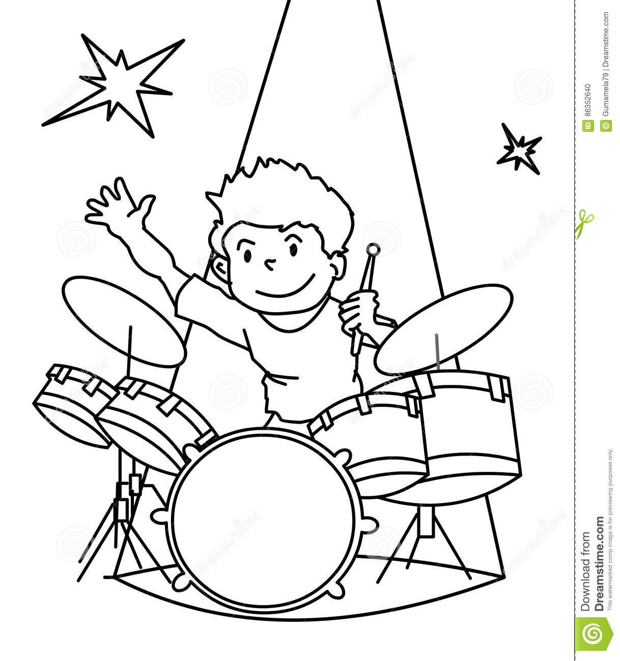 Drummer Coloring Page Stock Illustration Illustration Of Girl