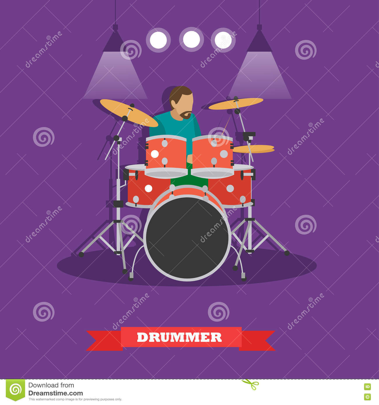 Drummer musician playing drums. Vector illustration in flat style design