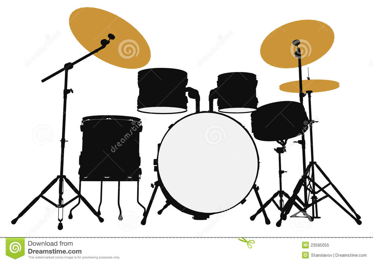 Drummer Outline Silhouette Stock Illustration - Image ...