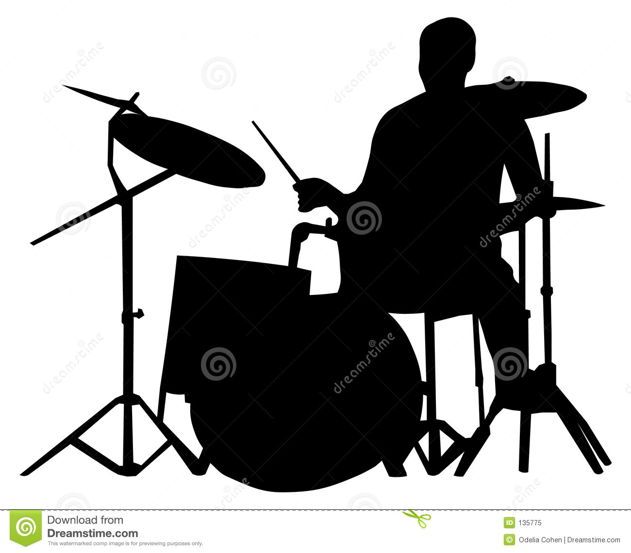 Drummer Silhouette Royalty Free Stock Photo - Image: 135775
