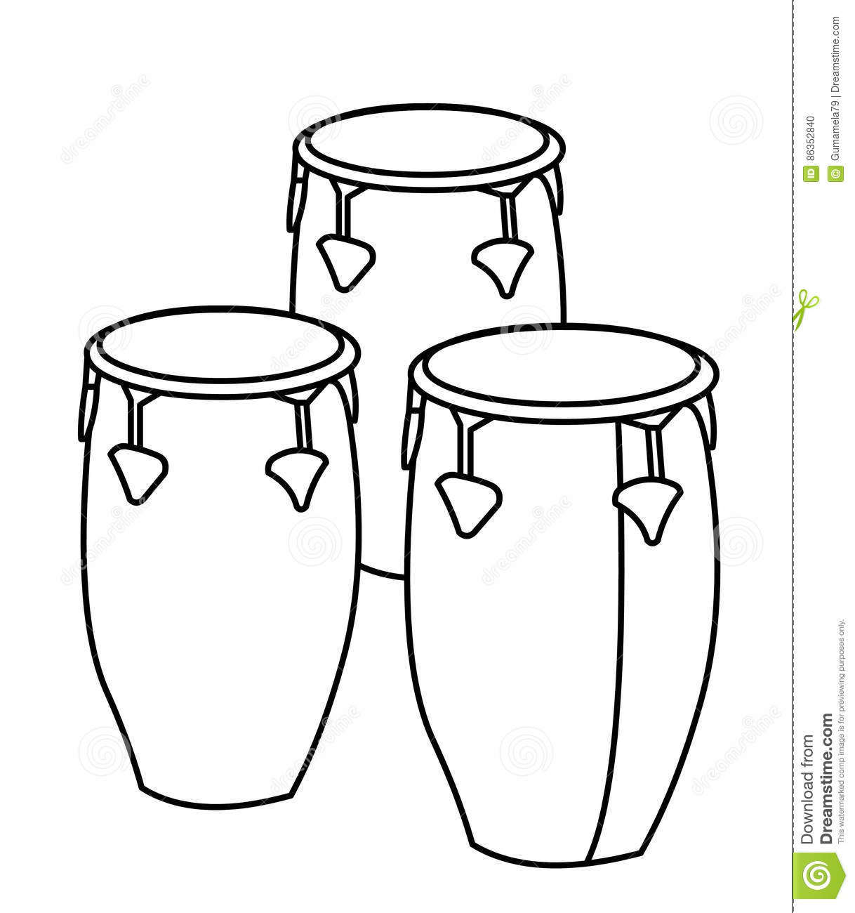 Drums Coloring Page Stock Illustration