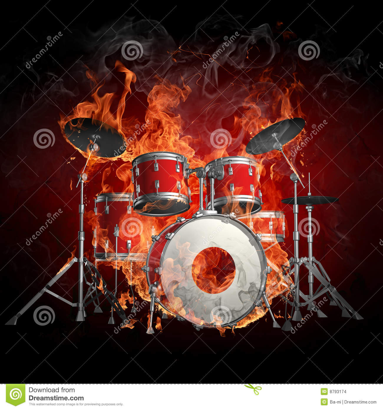 Drums In Fire Stock Images Image 8793174