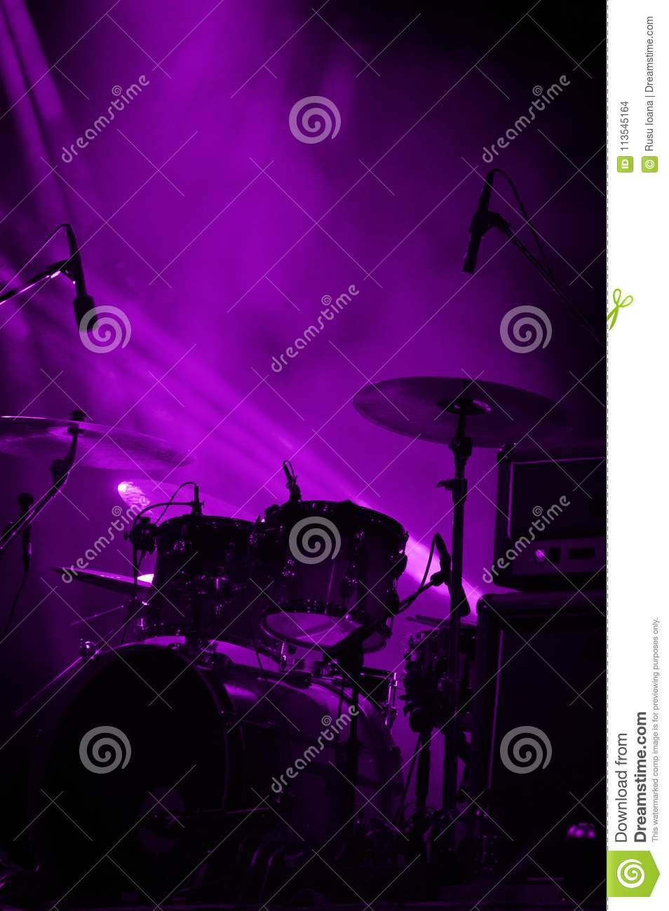 Drums. Live concert and stage lights.