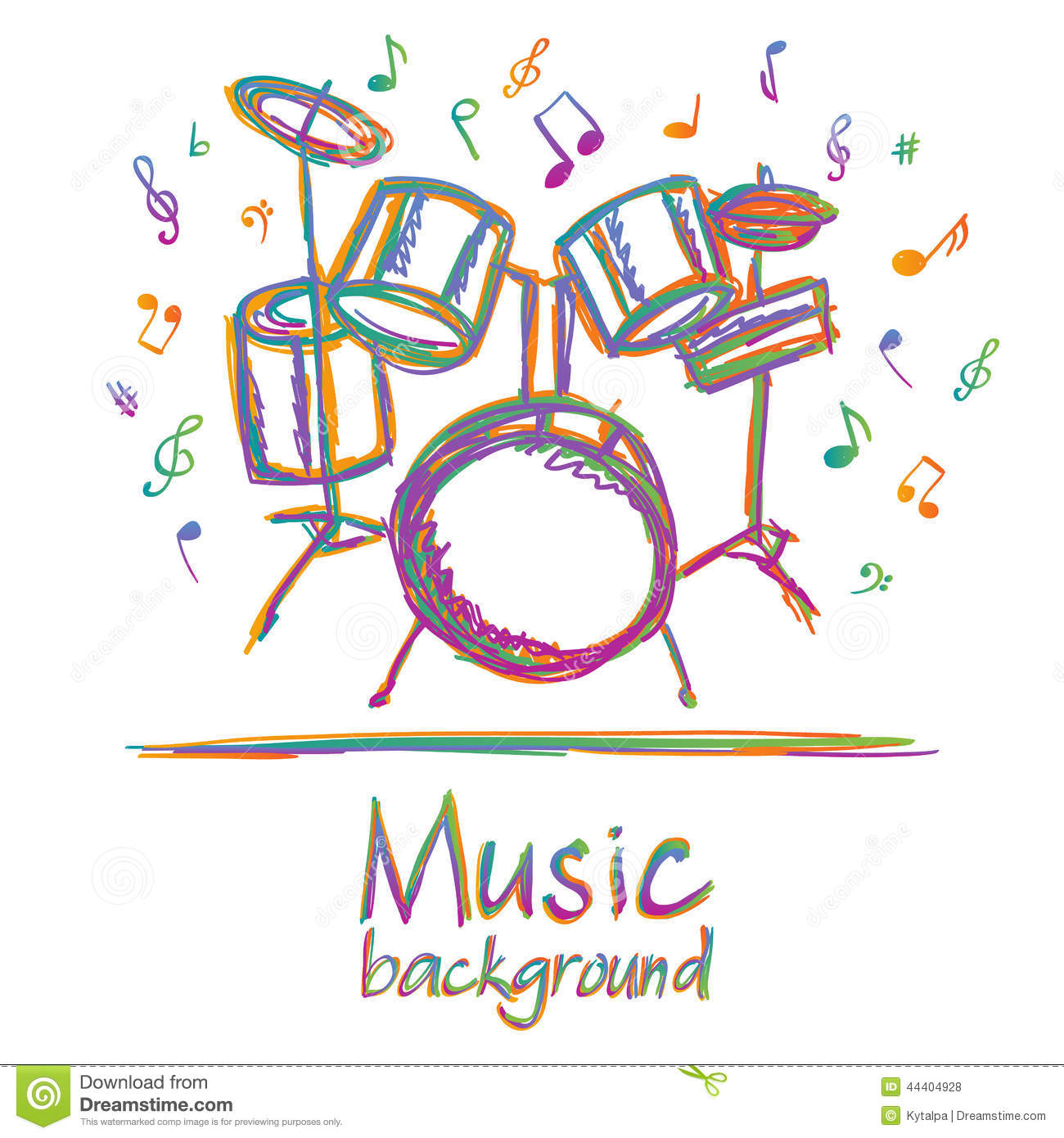 Drums Music Background With Notes Royalty Free Vector