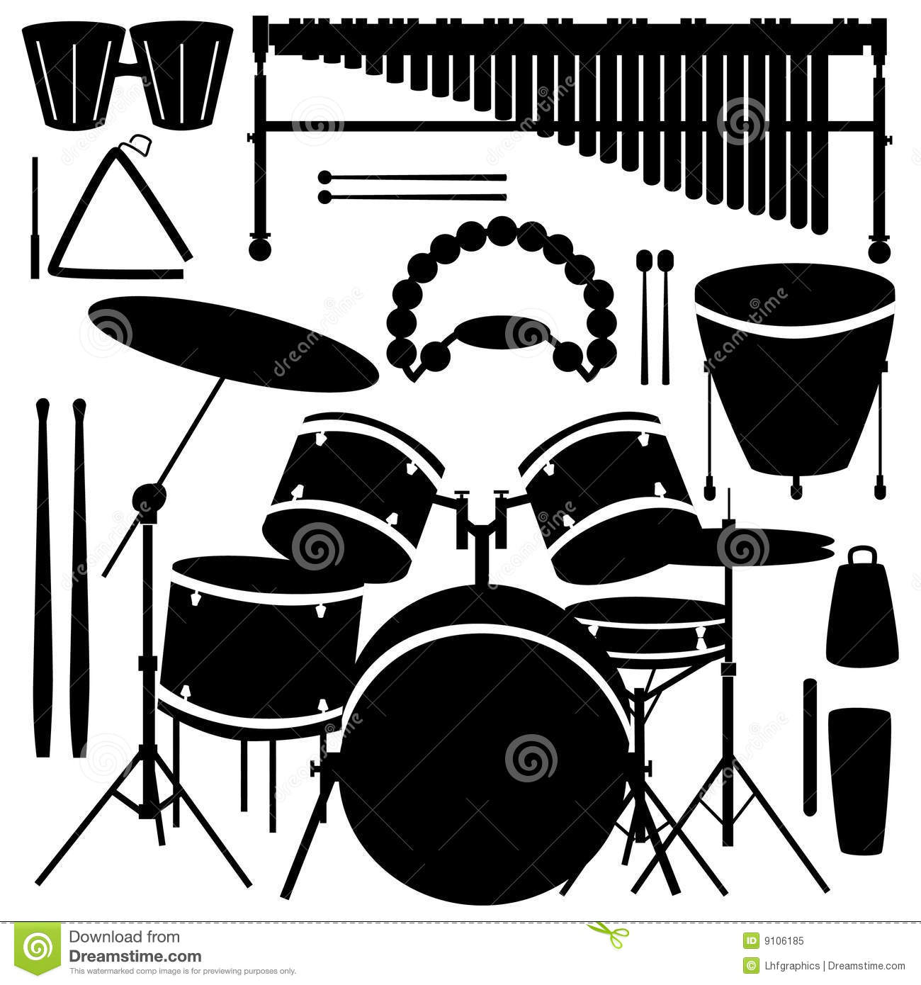 drums and percussion instruments stock vector illustration of maraca bass 9106185. Black Bedroom Furniture Sets. Home Design Ideas