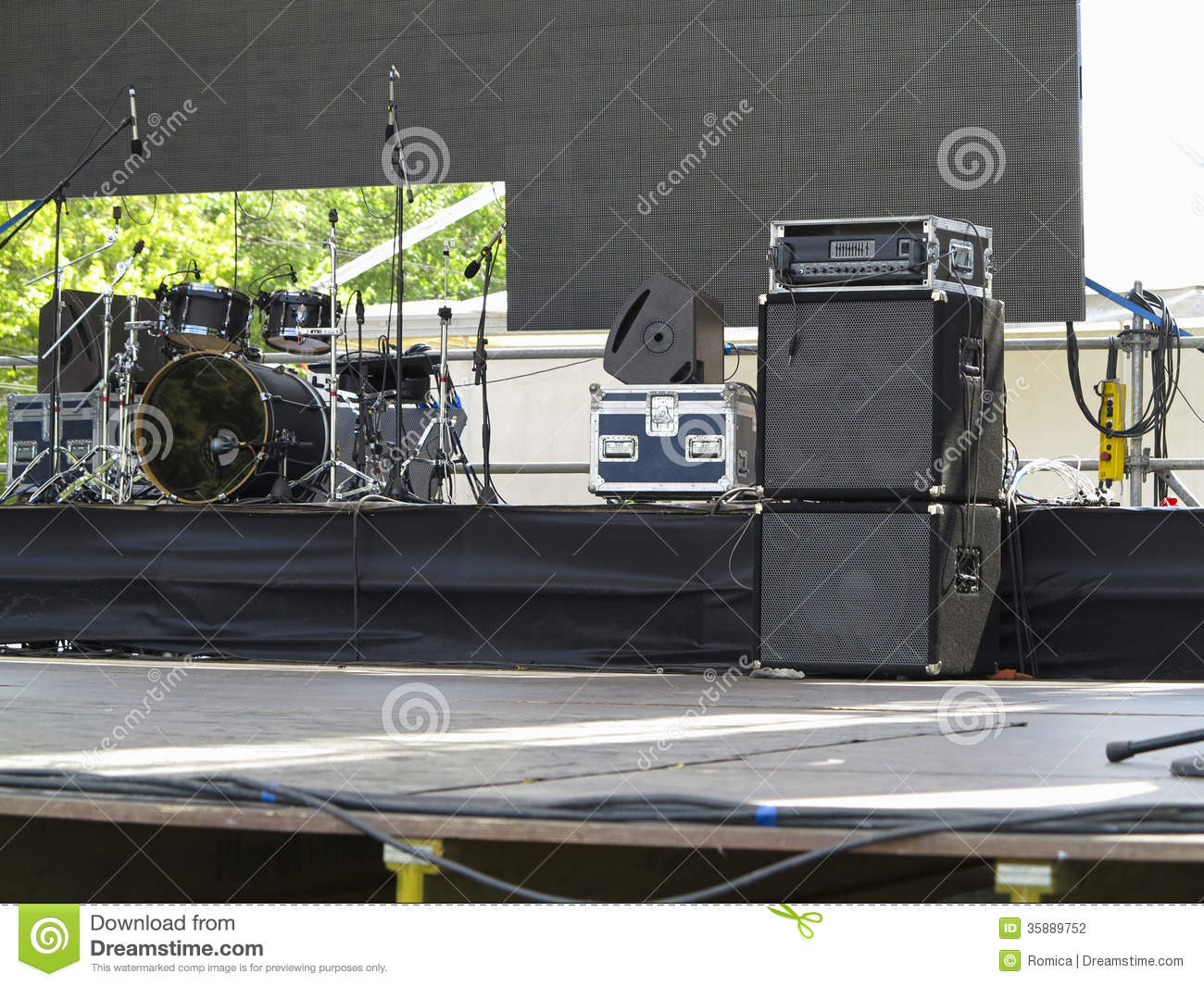 Drums Set Powerfull Speakers Amplifiers And Stage
