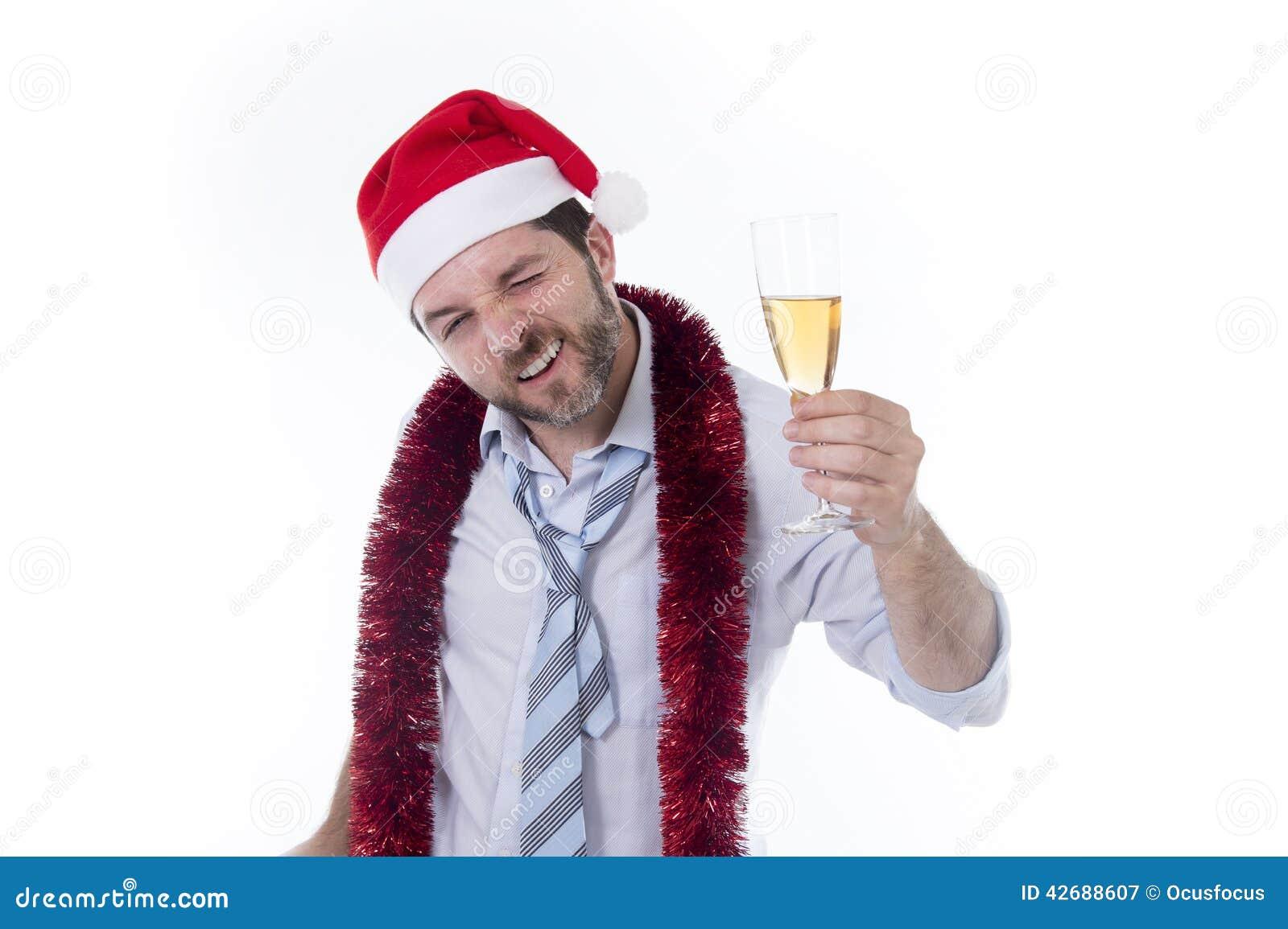 Drunk Businessman Drinking Champagne Wearing Santa Hat At Office ...