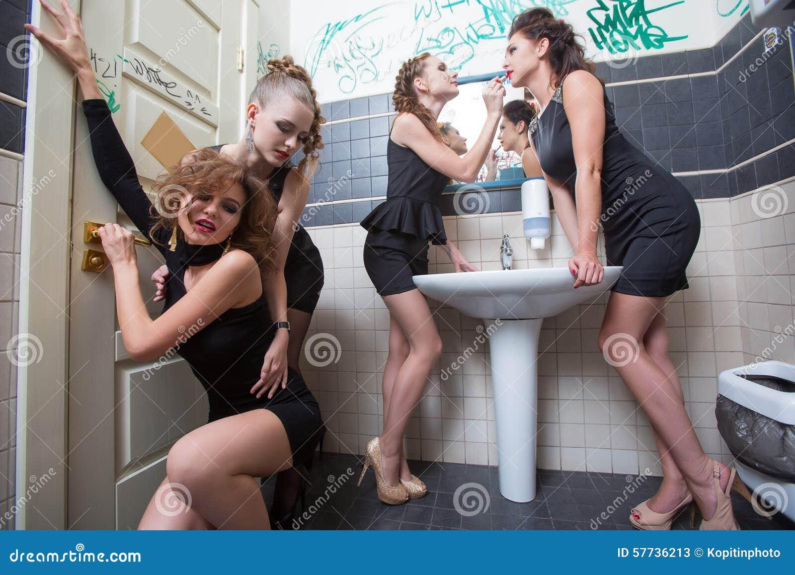 Drunk Girl In Toilet Bars Women In Evening Stock Photo