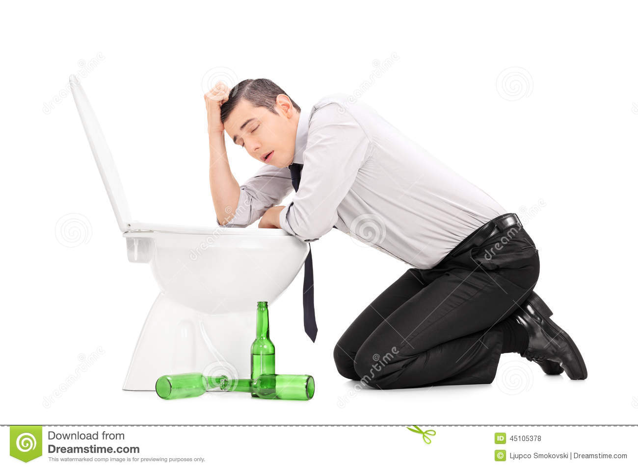 Drunk Guy Leaning Over A Toilet Stock Photo Image 45105378