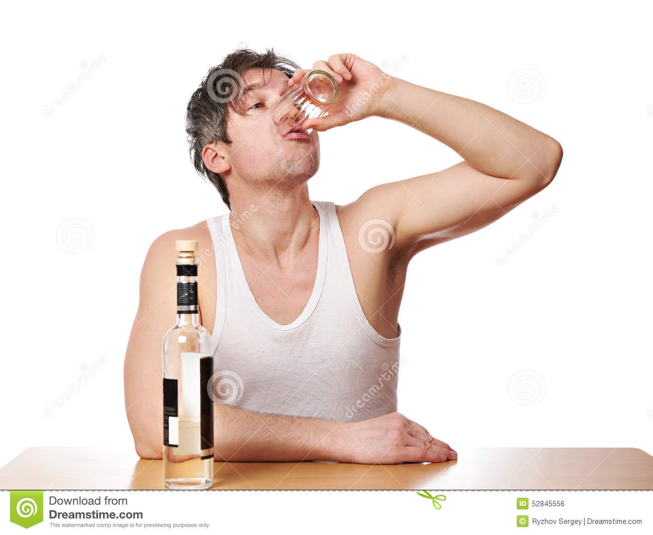 Drunk Man Drinks A Glass Of Vodka Stock Photo - Image: 52845556