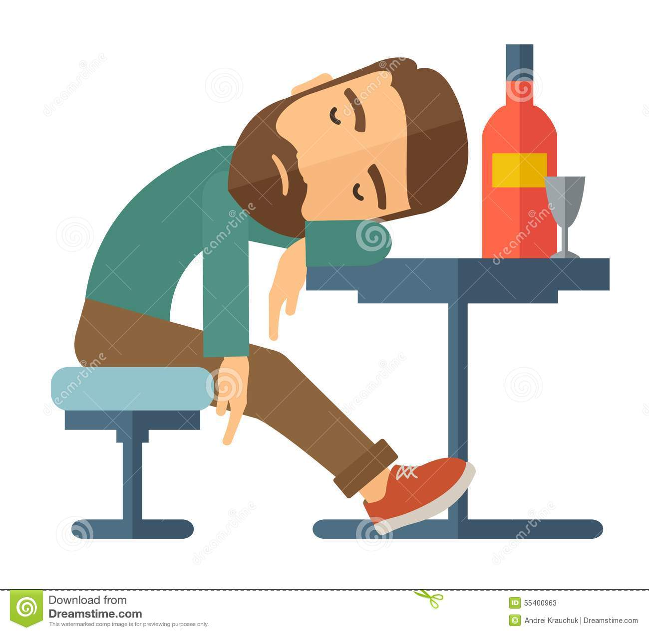 Stock Illustration Drunk Man Fall Asleep Pub Sitting Table Bottle Beer Inside Over Drink Concept Contemporary Style Vector Image55400963 on Nightclub Bar Design Floor Plans