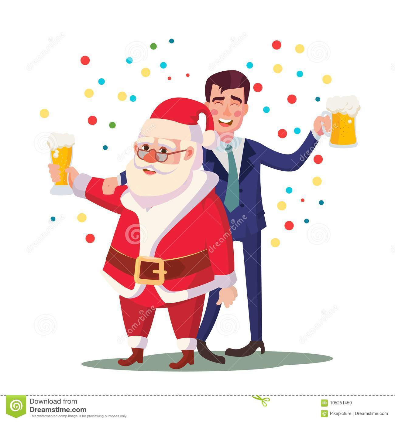 Drunk Man And Santa Claus Vector. Corporate Christmas Party At ...