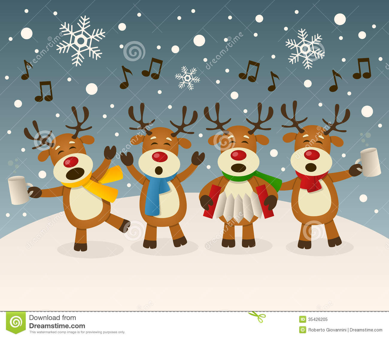 Drunk Reindeer Singing On The Snow Royalty Free Stock Photo ...