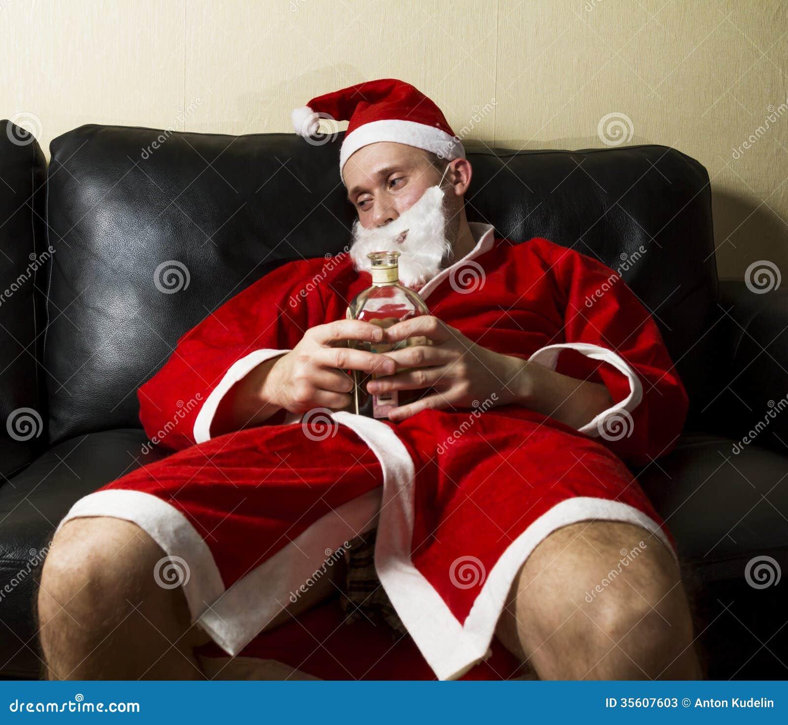 Drunk santa claus already far