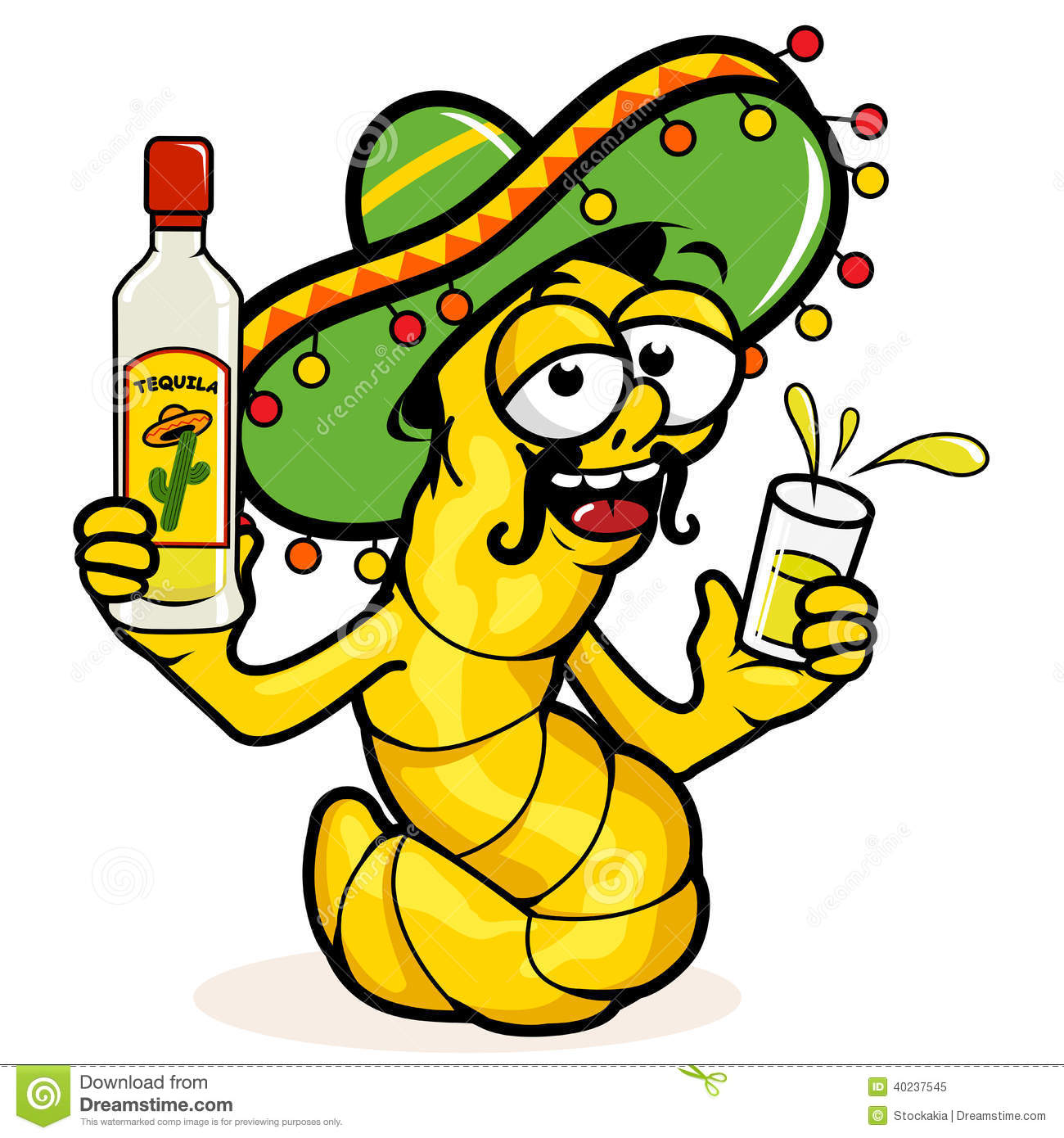cartoon drunk tequila worm holding a bottle of tequila.