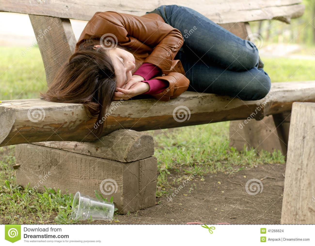 ... Woman Sleeping It Off On A Wooden Bench Stock Photo - Image: 41266624