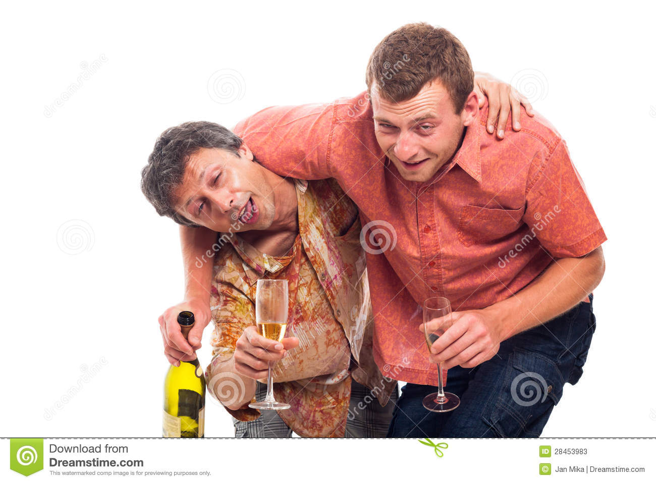 Two funny drunken men with bottle and glass of alcohol, isolated on ...