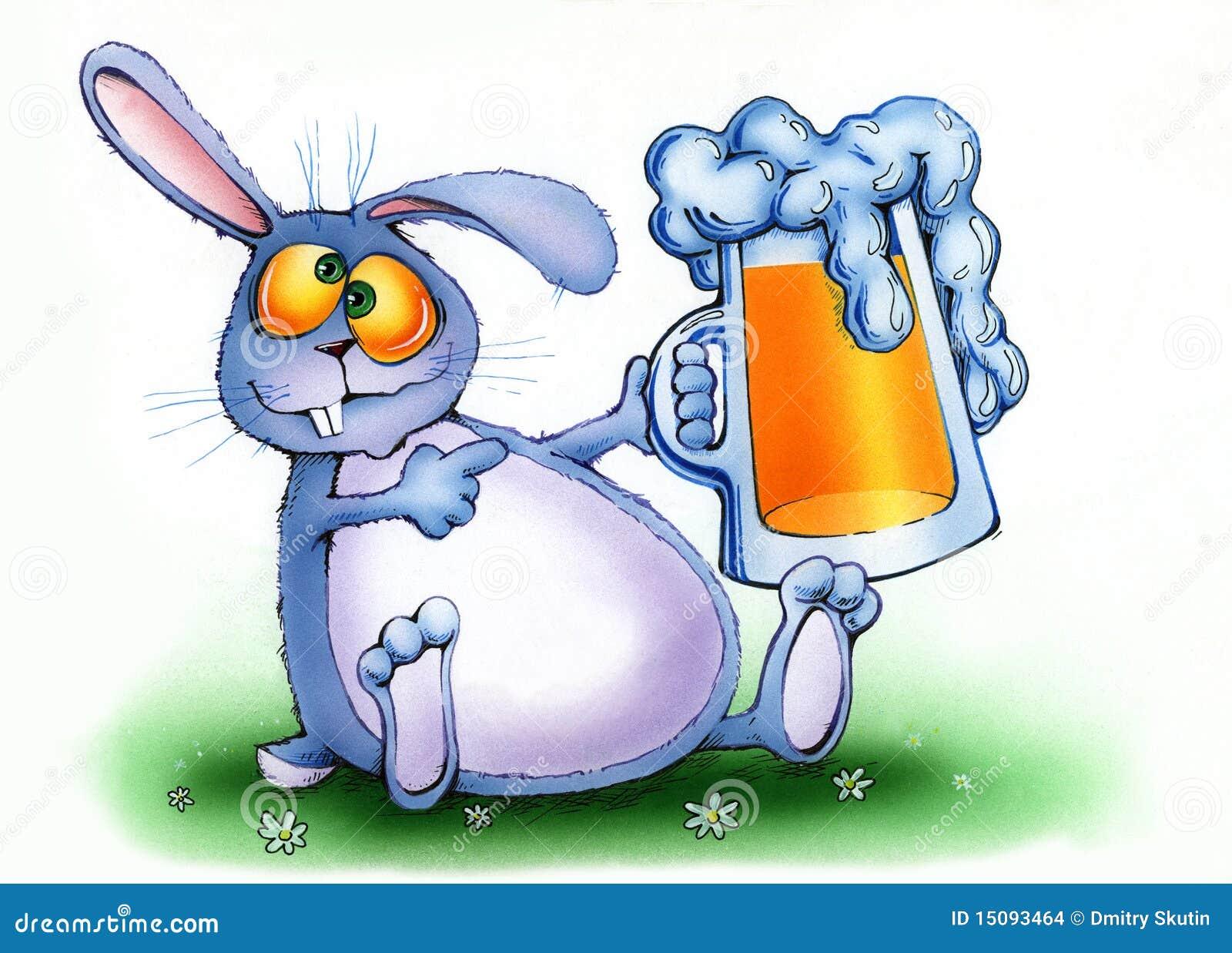 Drunken Rabbit With A Mug Of Beer Stock Illustration Illustration