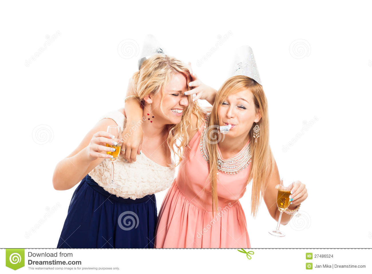 Two young drunken women celebrating with alcohol, isolated on white ...