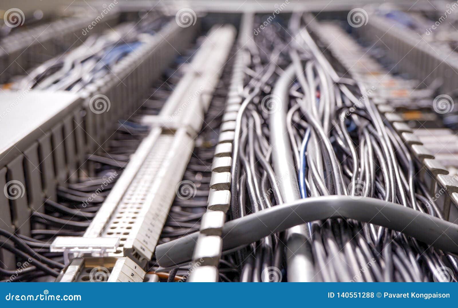 Druty i kable, dane przepływ w sieci wśród przemysłowej rośliny