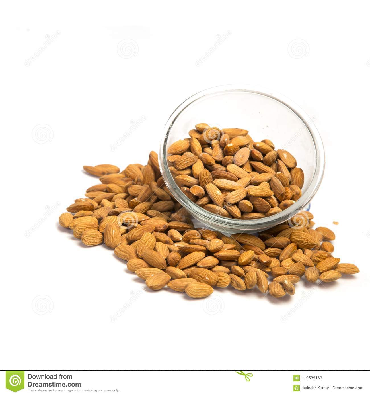 Almonds and bowl stock image. Image of glass, milk ...