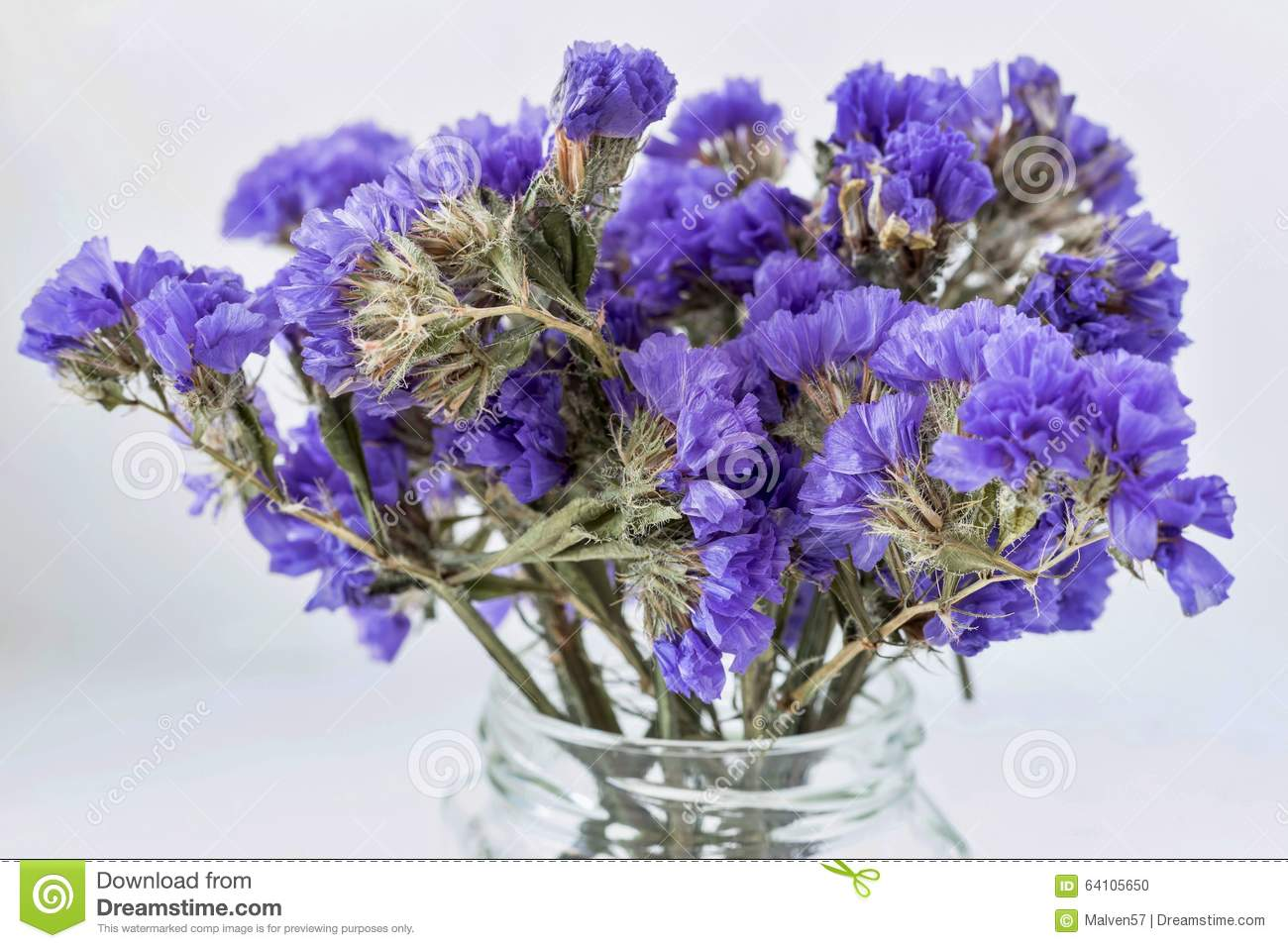 Dry Bouquet From Abstract Small Blue Flowers Stock Photo - Image of ...