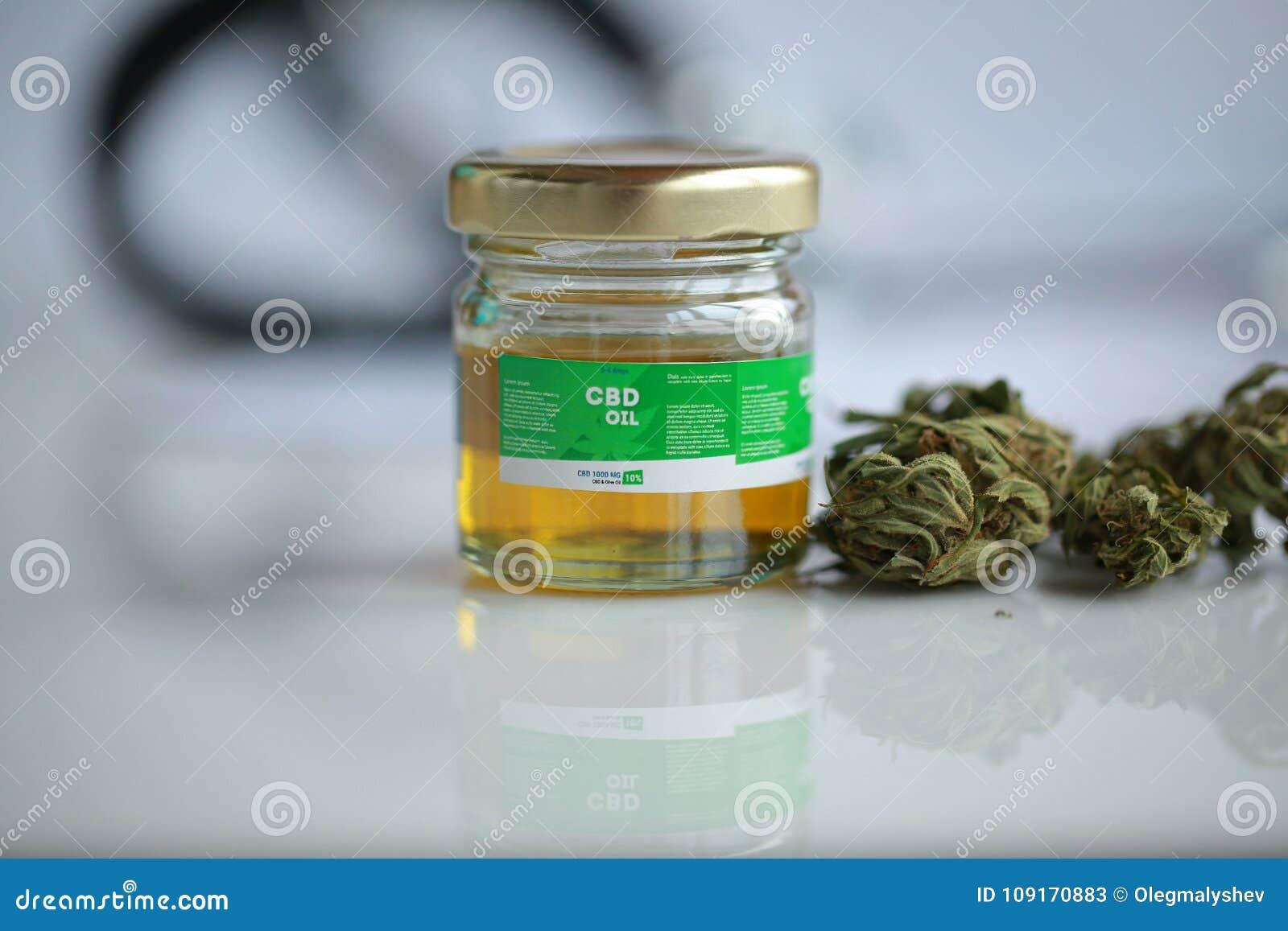 Dry Cannabis, CBD Oil ,stethoscope And Recipe Stock Image