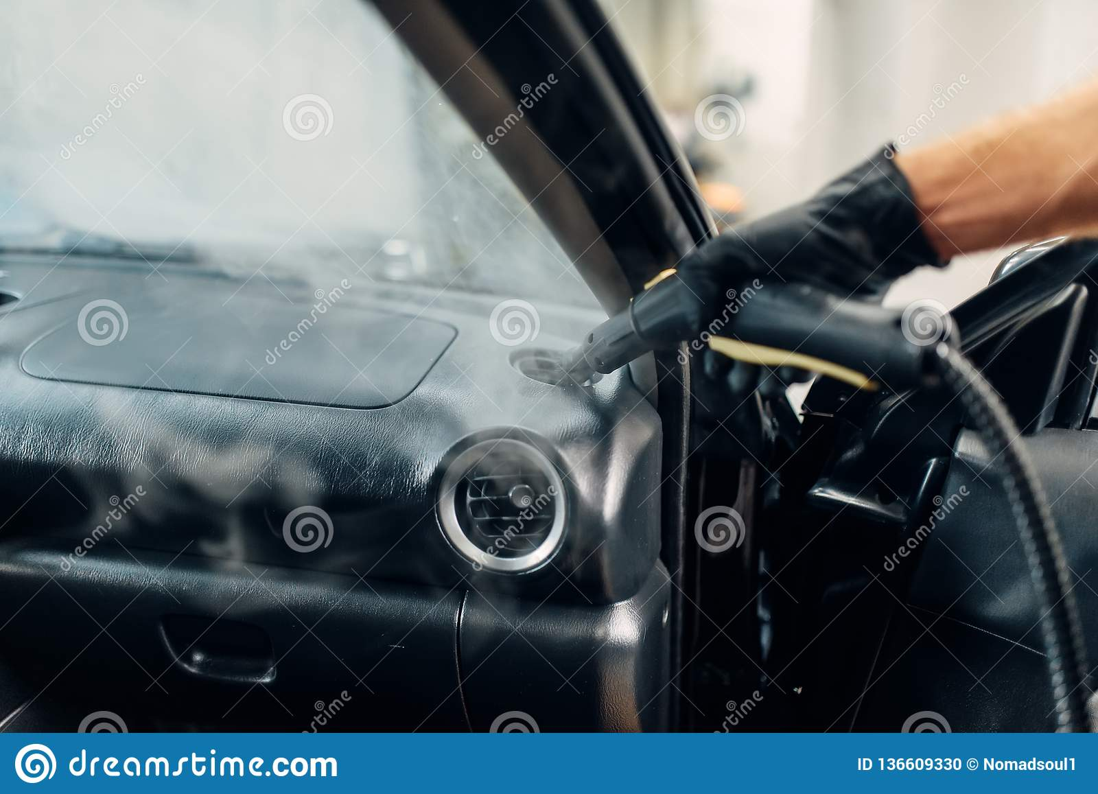 Auto Steam Cleaner >> Dry Cleaning Of Car Air Duct With Steam Cleaner Stock Photo