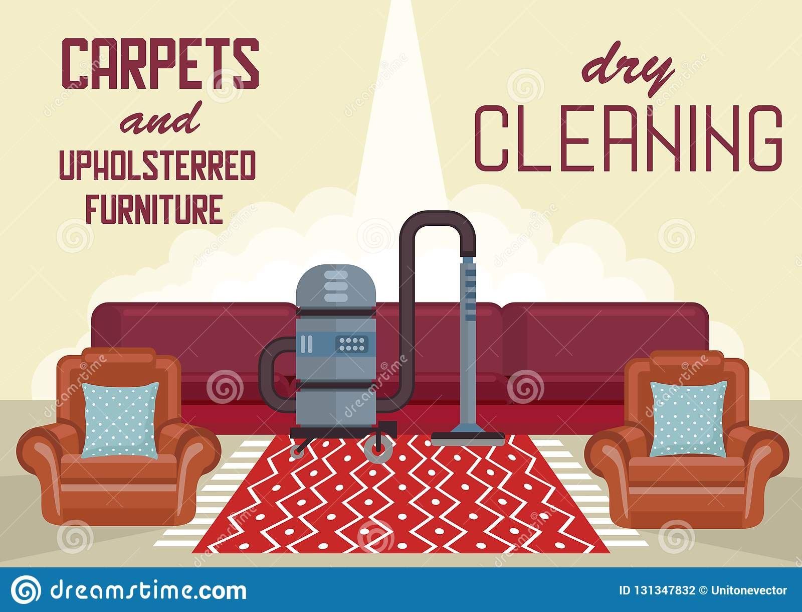 Dry Cleaning Carpets And Upholstered Furniture  Stock Vector