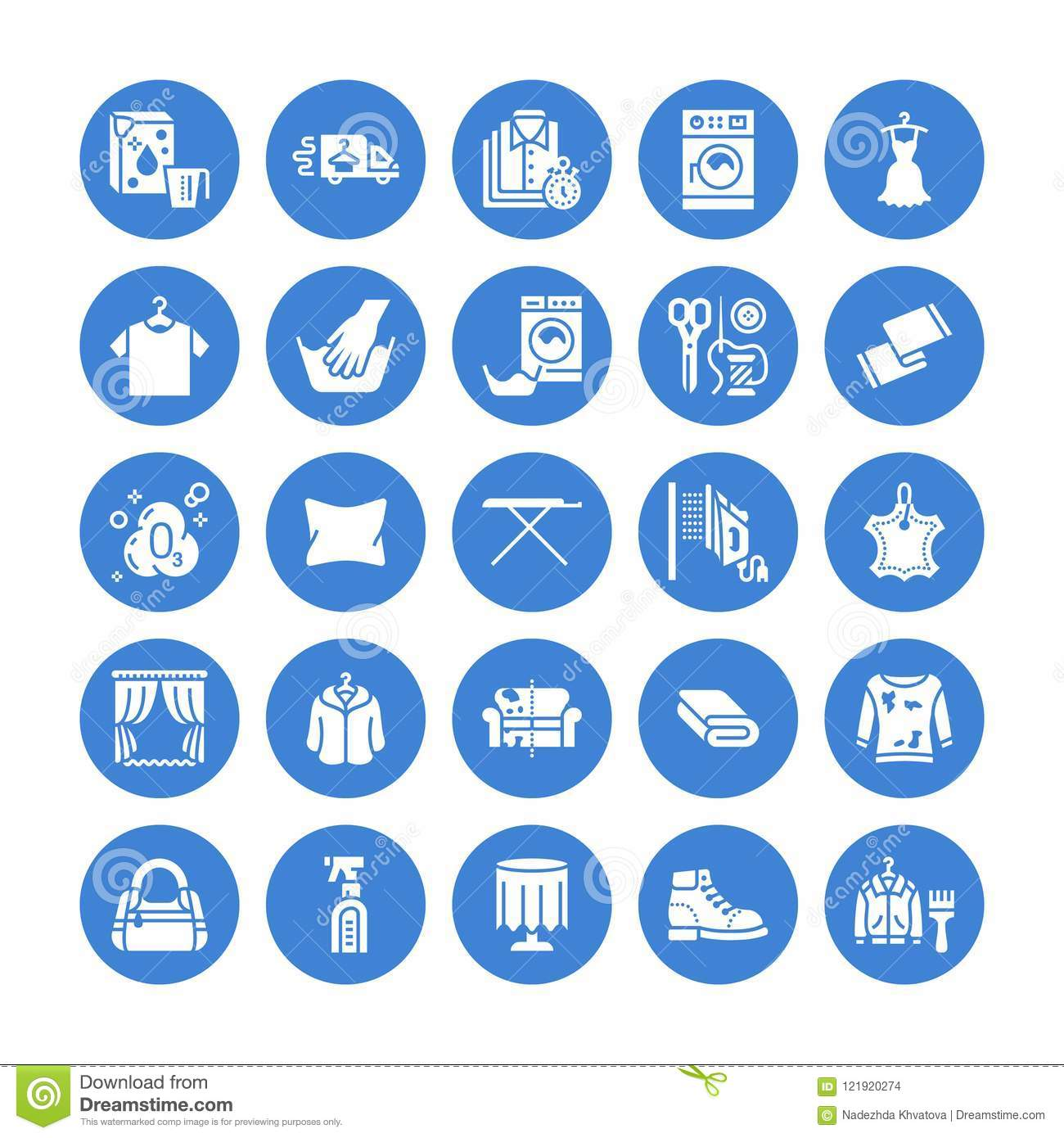 Dry Cleaning Laundry Flat Glyph Icons Launderette Service