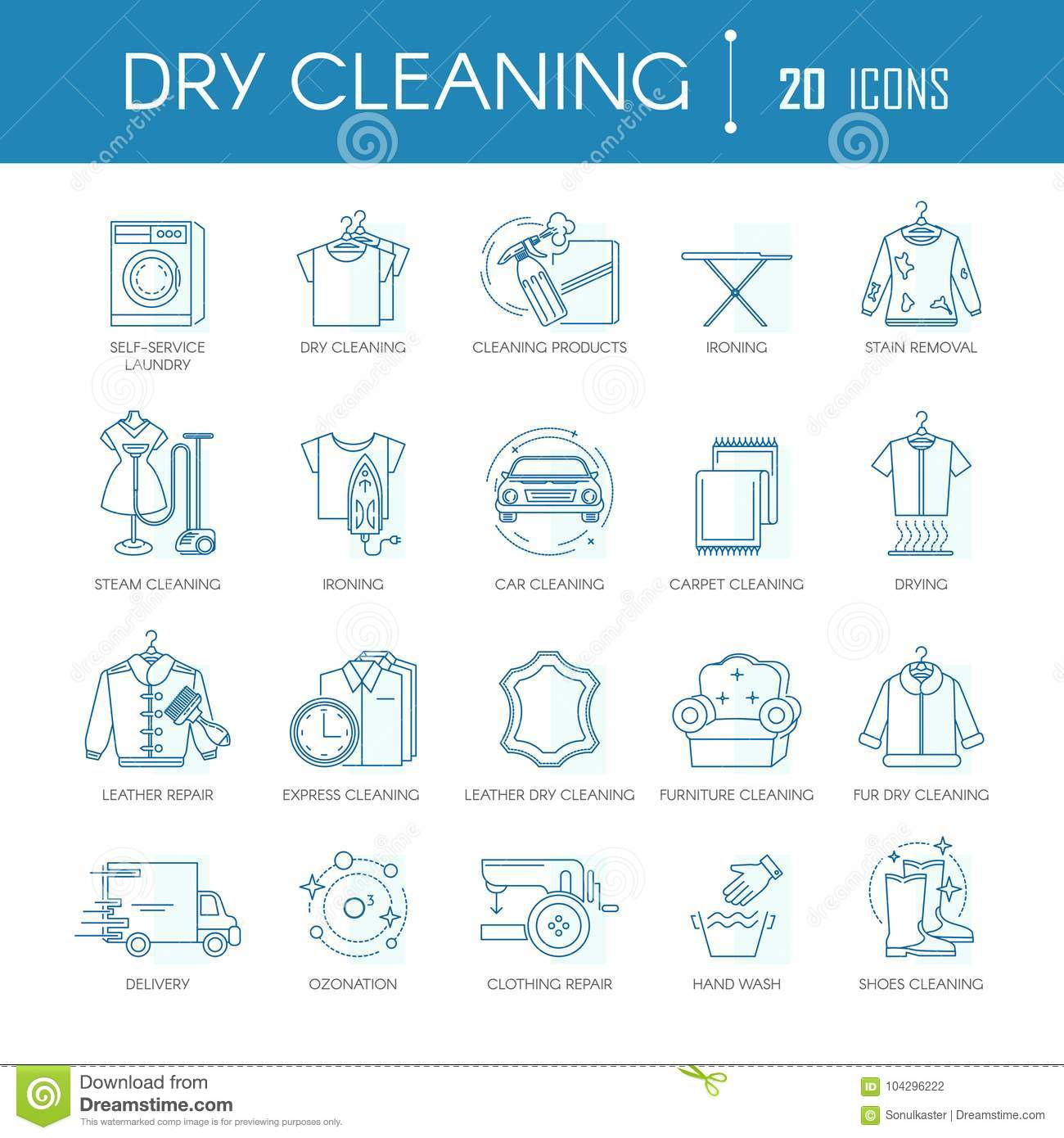 Dry Cleaning Laundry Service Line Icons Vector Set For Clothing