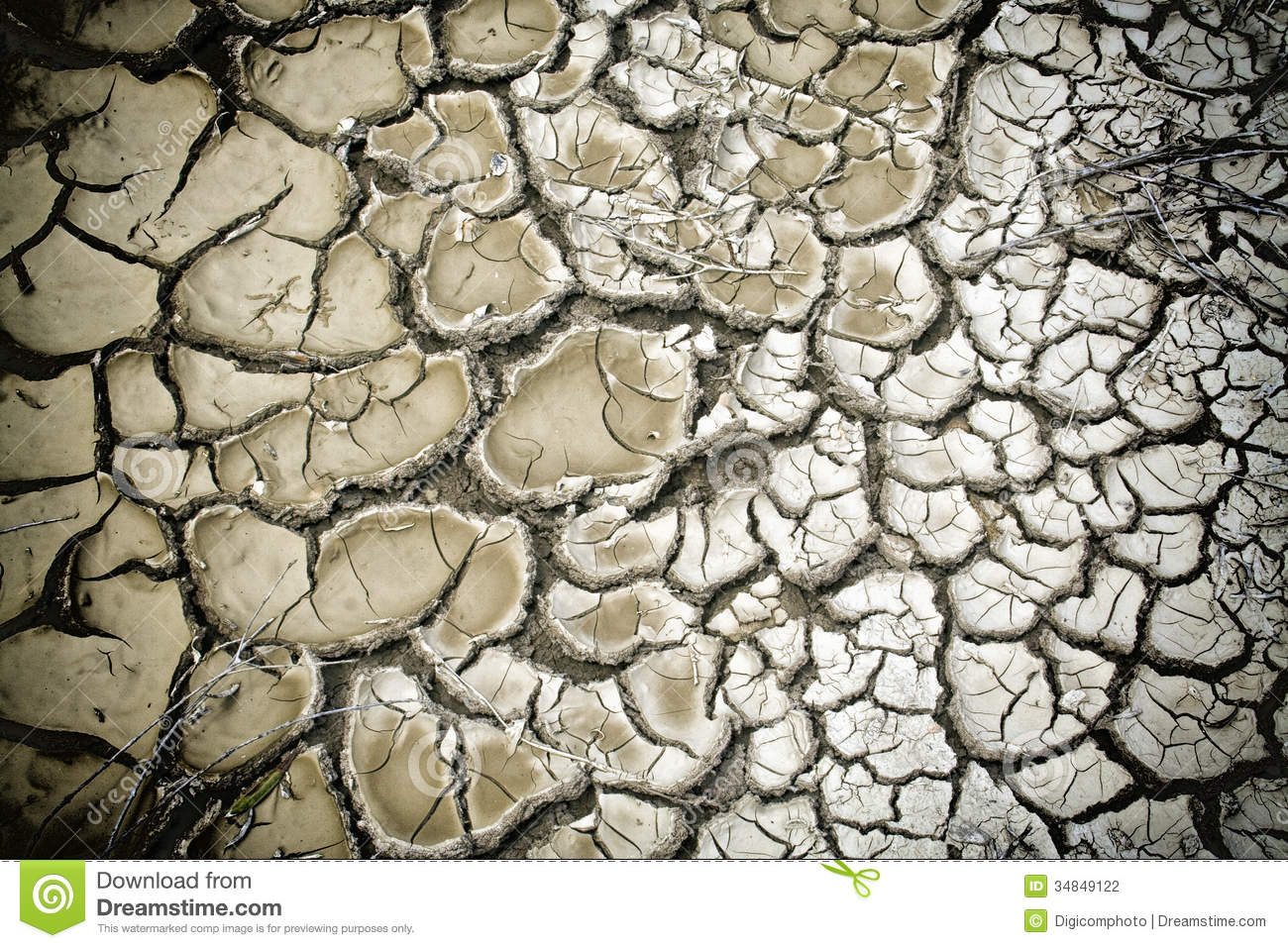 Background of dry cracked soil dirt or earth during drought Cracked Dirt Background