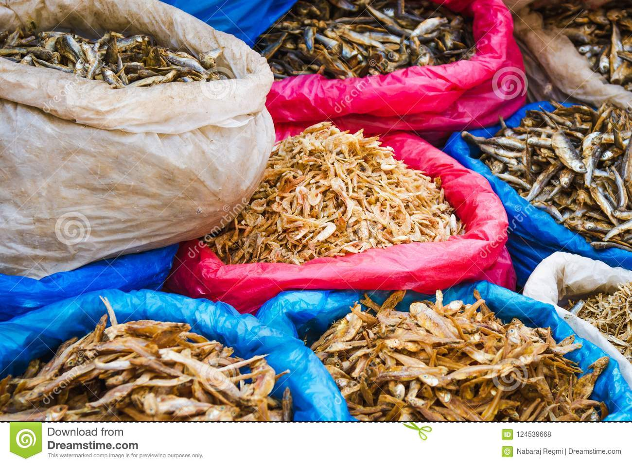 Dry Fish For Sale In The Asian Market Stock Photo - Image of farmers