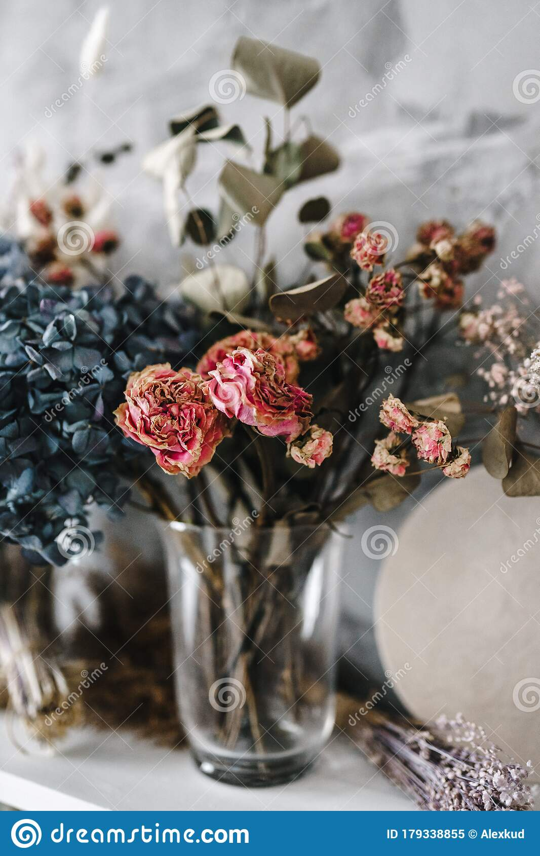 Dry Flowers In The Interior Bouquets Of Dried Flowers Stock Image Image Of Bouquet Design 179338855