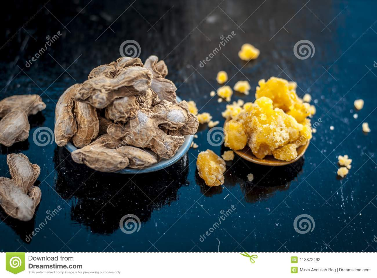 Dry ginger with jaggery  stock photo  Image of benefits