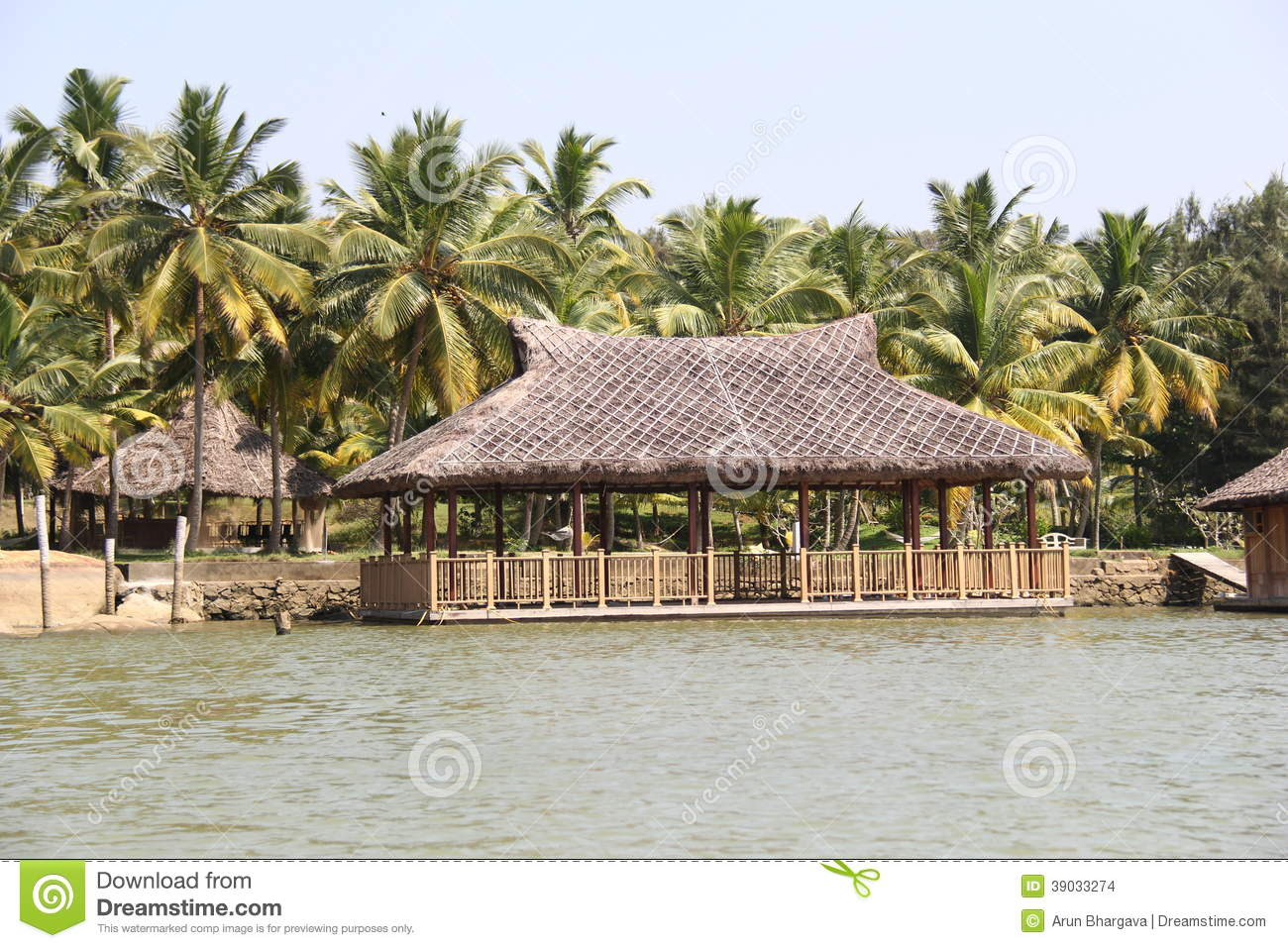 Dry Grass Sloping Roof Houses Of Kerala Backwaters Stock Photo - Image ...