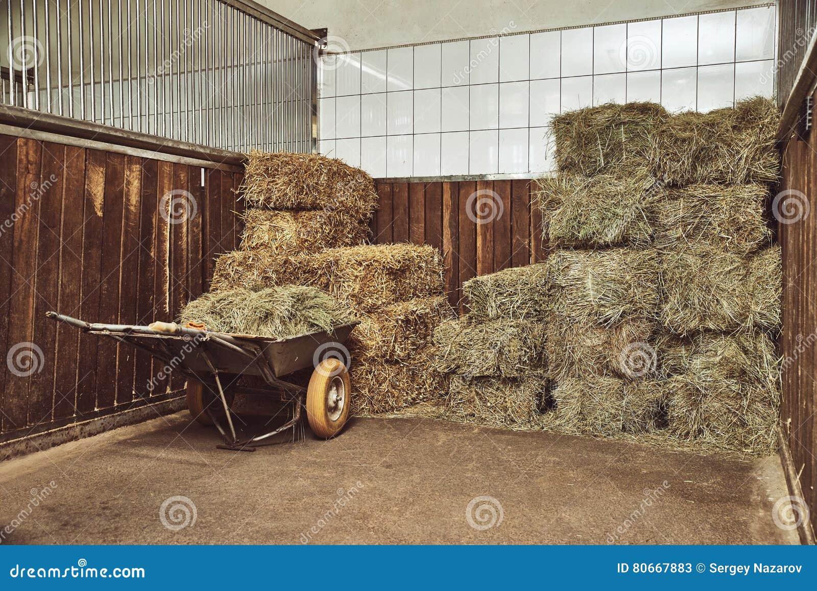Dry Hay Stacks In Rural Wooden Barn Interior Stock Image ...