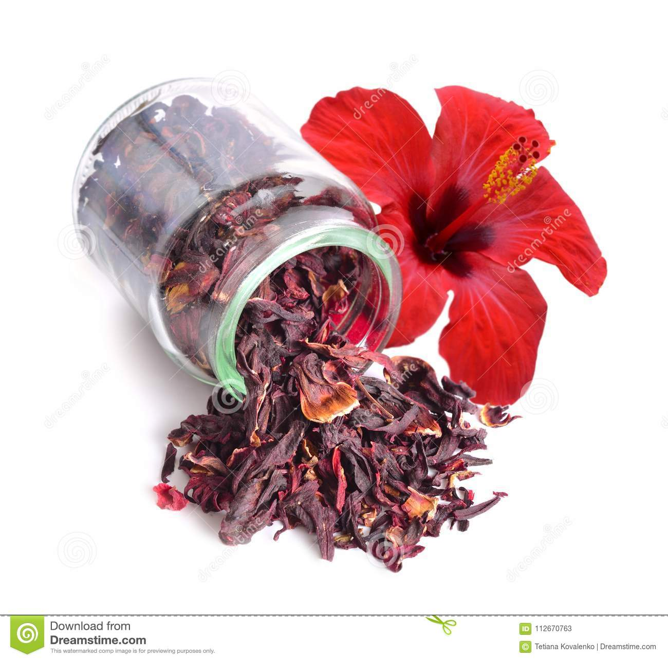 Dry Hibiscus Tea In Glass Jar With Flower Isolated On White Bac