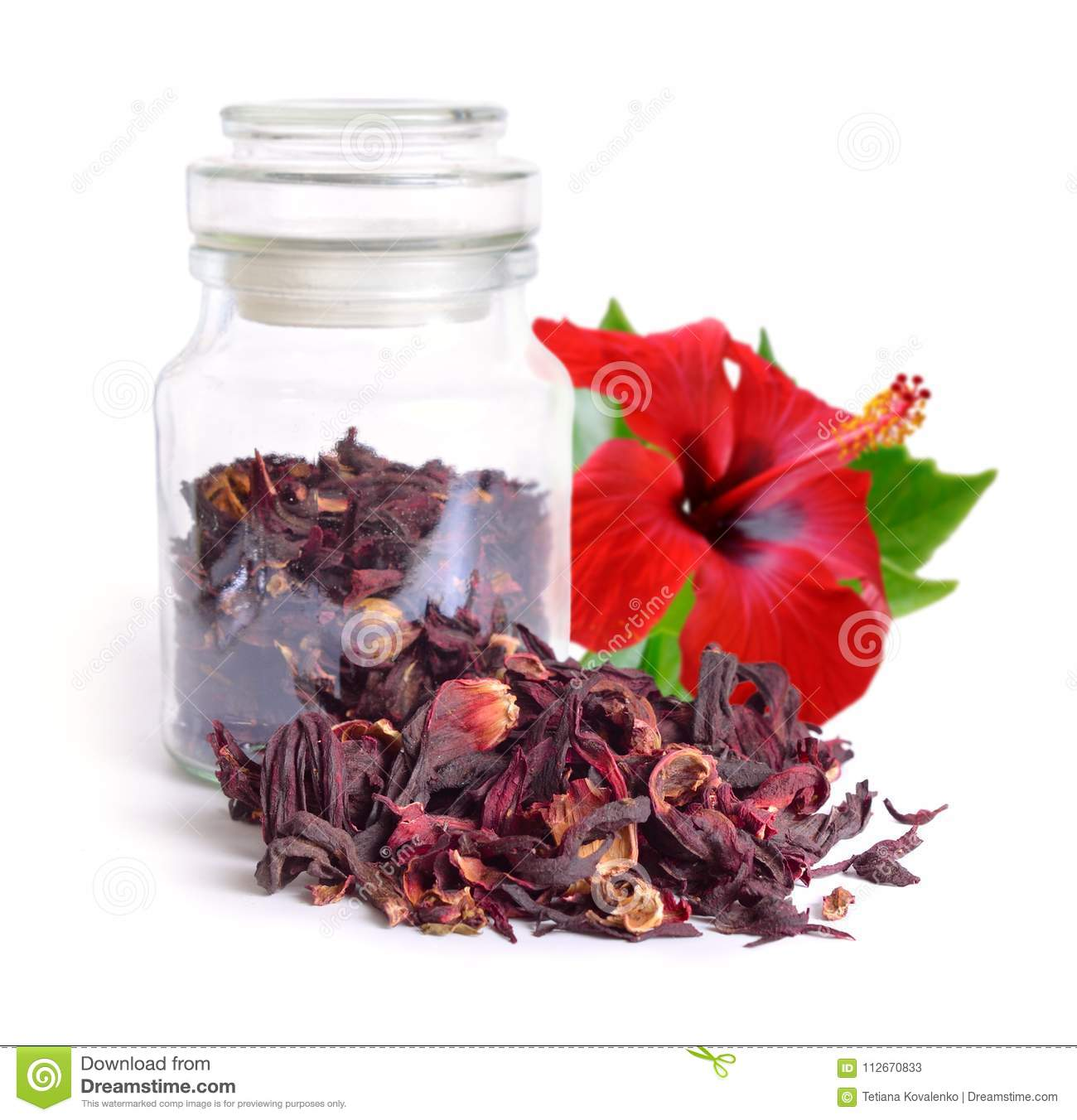 Dry hibiscus tea in glass jar with flower isolated on white bac royalty free stock photo download dry hibiscus tea in glass jar with flower isolated on white bac stock image izmirmasajfo Images