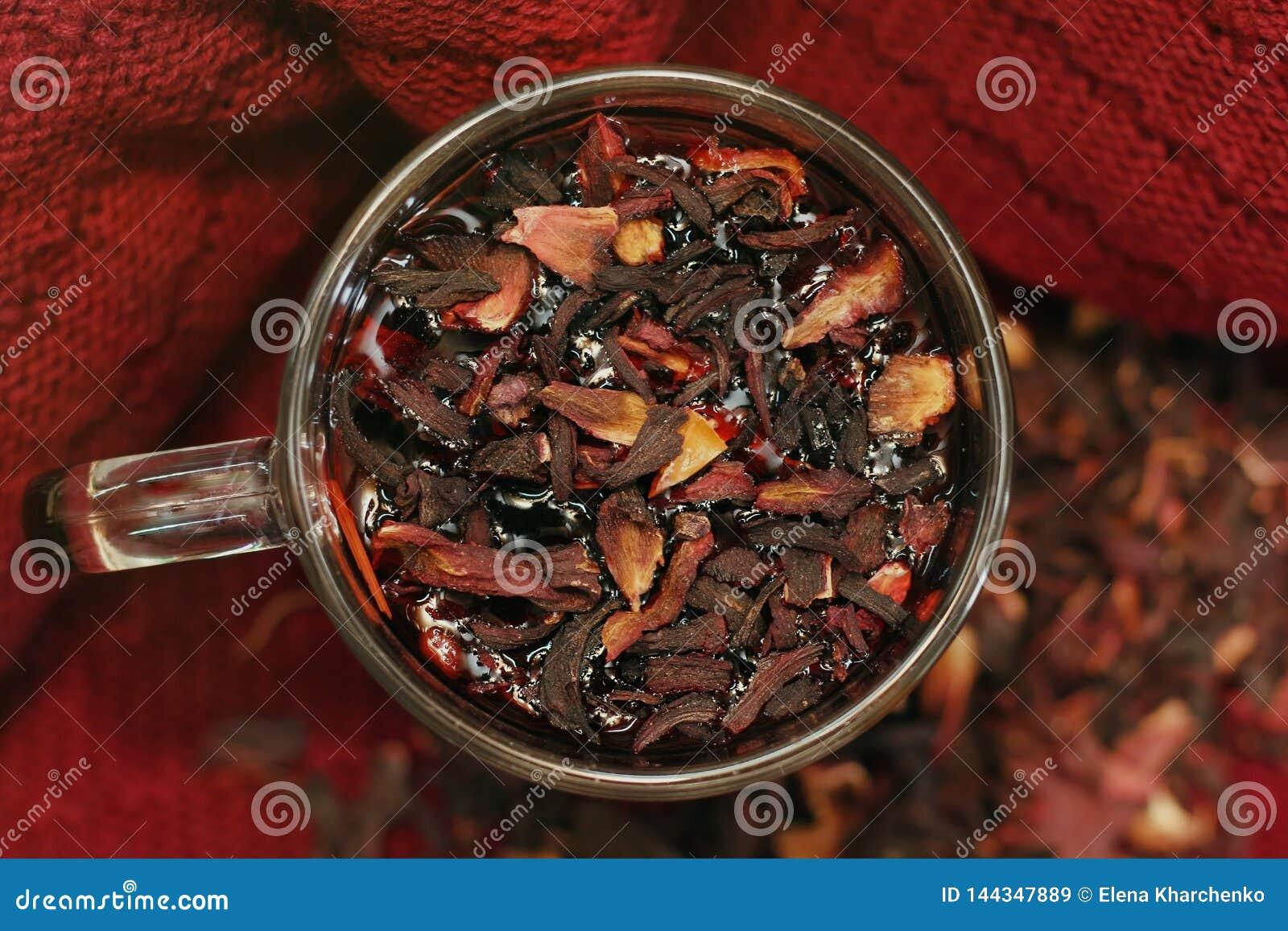 Fresh pomegranate tea in a cup