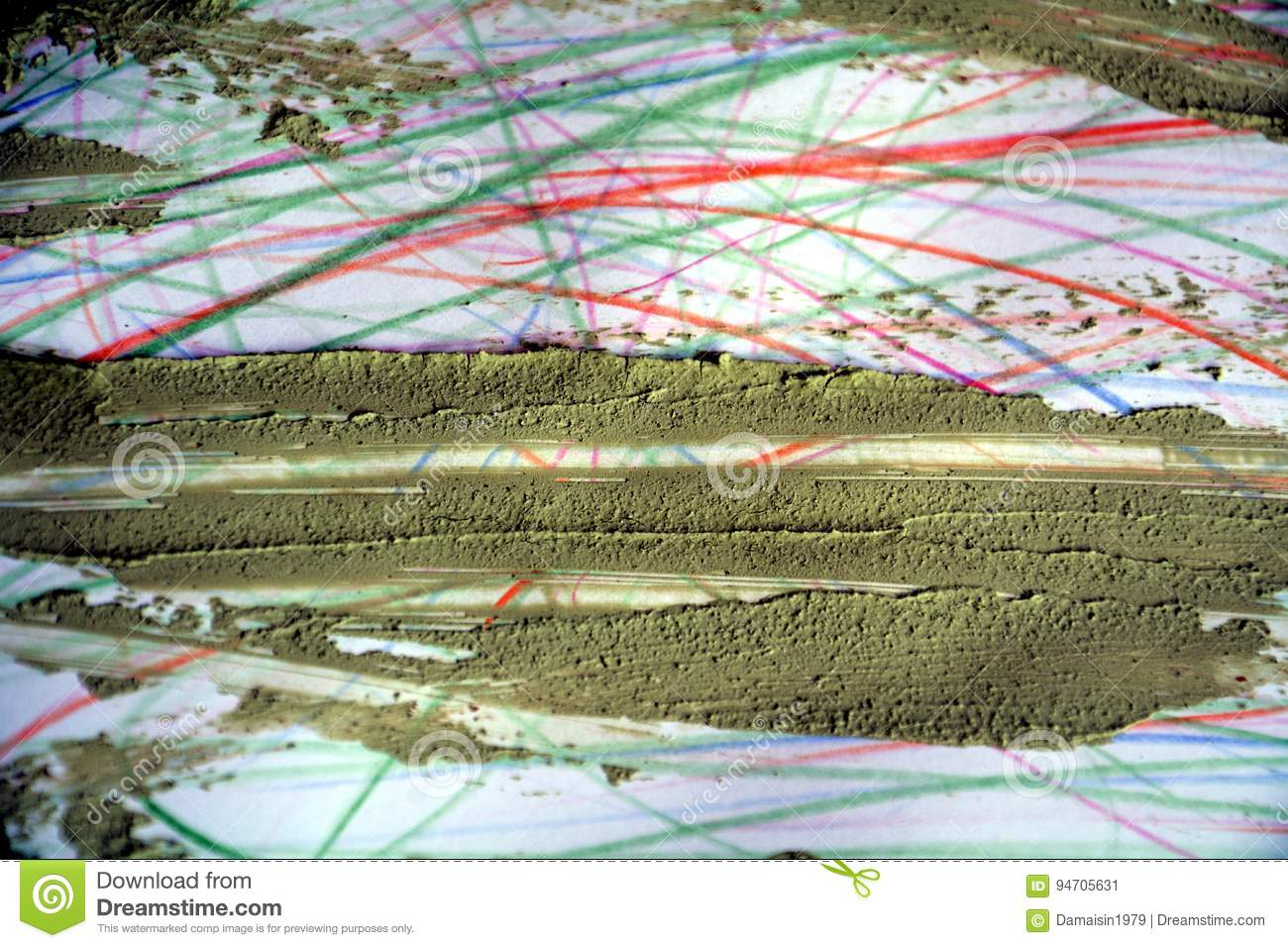 Dry mud on colorful lines, abstract background