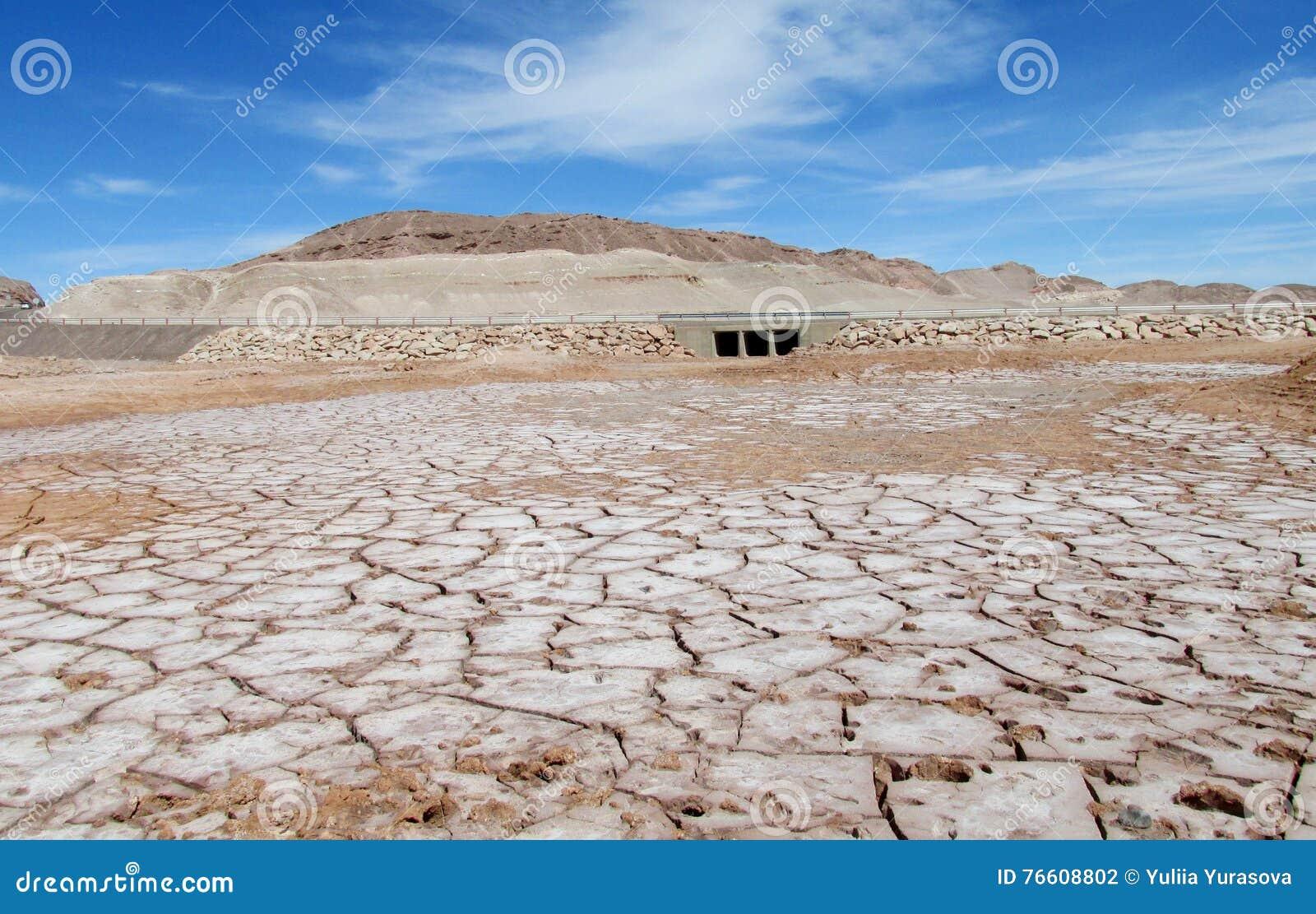 Dry salty soil pattern in San Pedro de Atacama desert