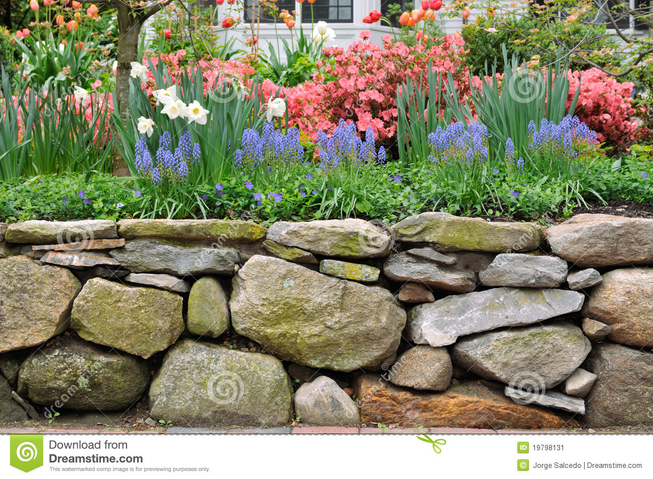 Dry stone wall and colorful garden stock image image of for Gardens with rocks and stones