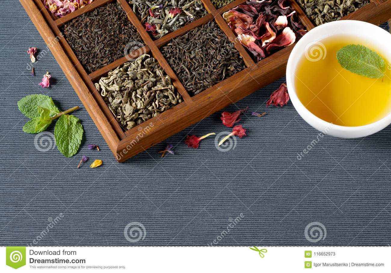 Dry Tea Assortment In Wooden Box Stock Image Image Of Aromatic