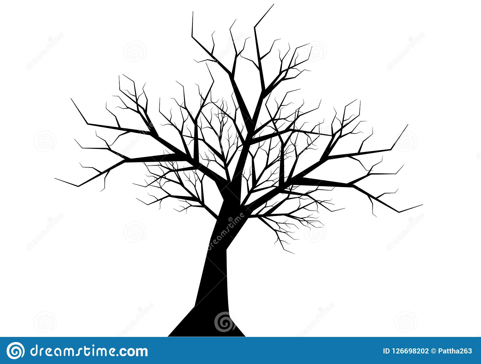 Dry Twig Tree Silhouette Black On White Background Vector Stock