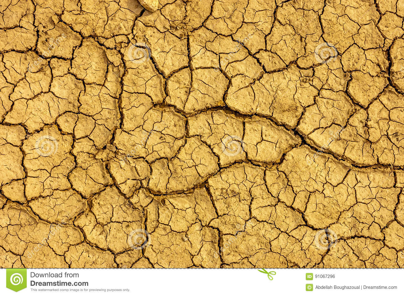 Dry yellow cracked earth texture.