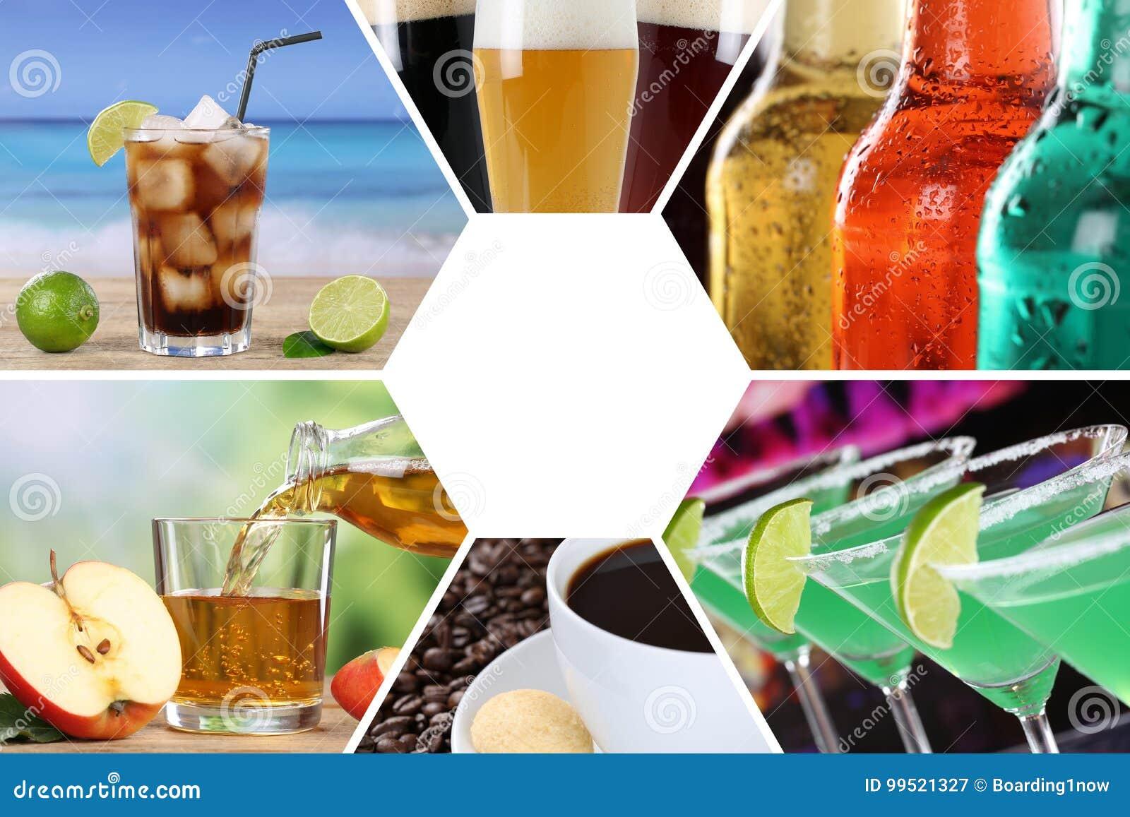 Drycker för collage för drinkmenysamling dricker restaurangstången