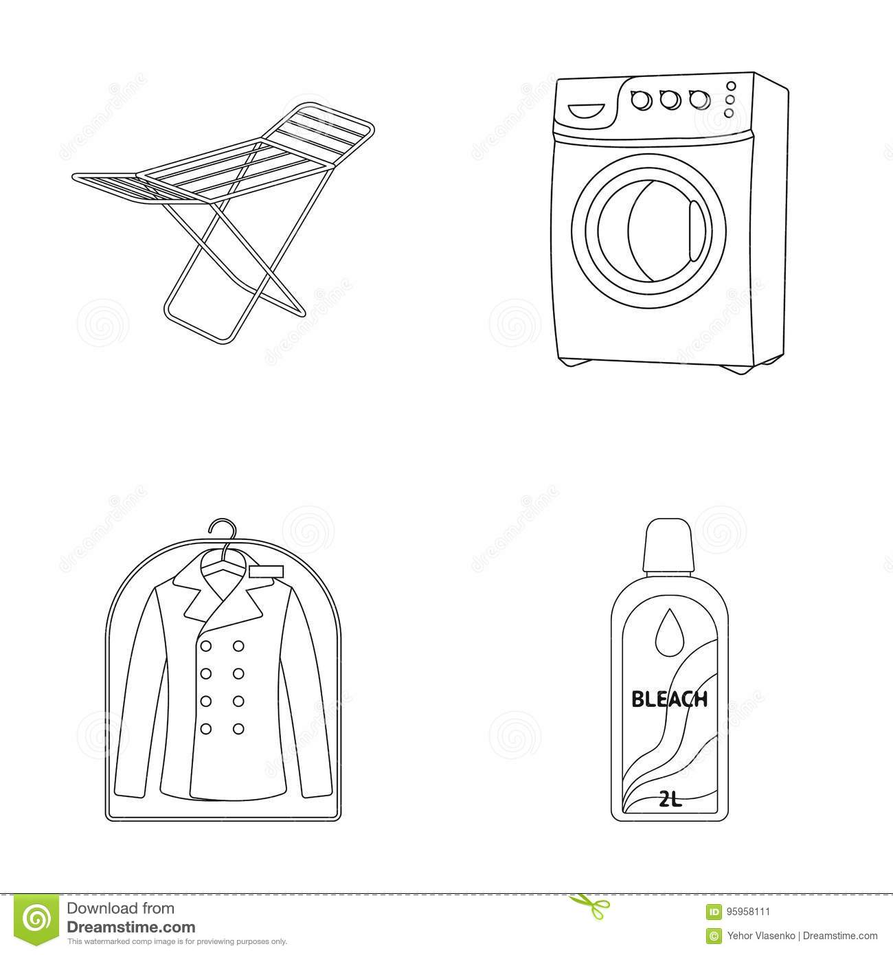 Dryer washing machine clean clothes bleach dry cleaning set dryer washing machine clean clothes bleach dry cleaning set collection icons in outline style vector symbol stock buycottarizona Choice Image